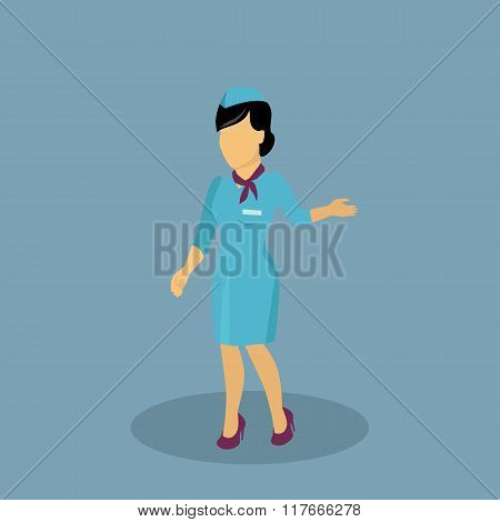 Profession Icon Stewardess Design Flat Style