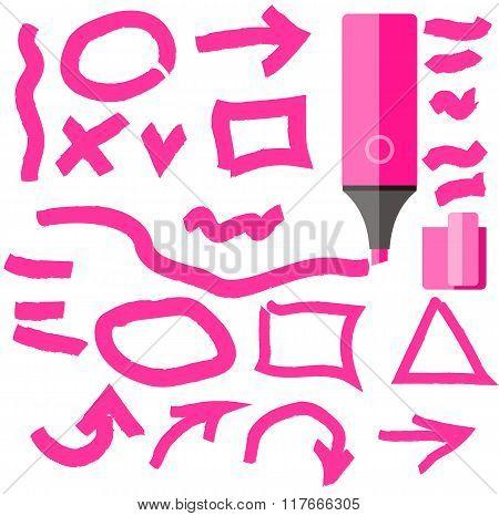 Marker Line Element Set Flat Design