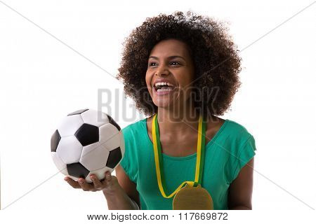 Brazilian woman holding a soccer ball on white background