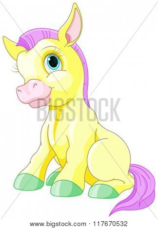 Illustration of cute yellow pony