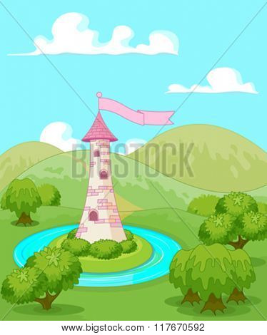 Magic fairytale tower rural landscape