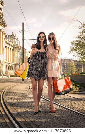 Friends doing shopping