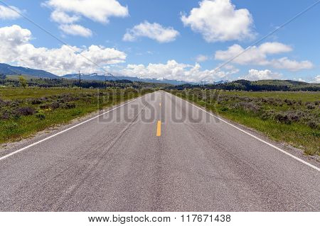 Straight Road In Wyoming