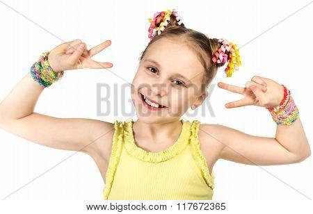 smiling girl with  trendy handmade weaving bracelets