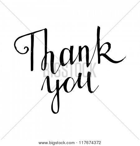 Thank you handwritten lettering on white background