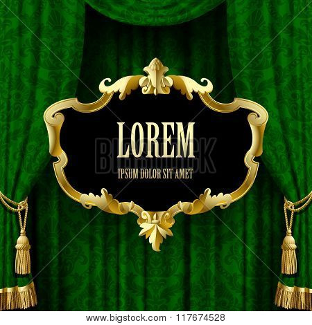 Suspended gold decorative baroque frame on the green curtain background. Square presentation artistic poster and placard. Vector illustration