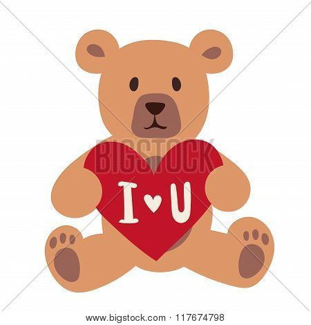 Gift Bear holding a red heart isolated on white background