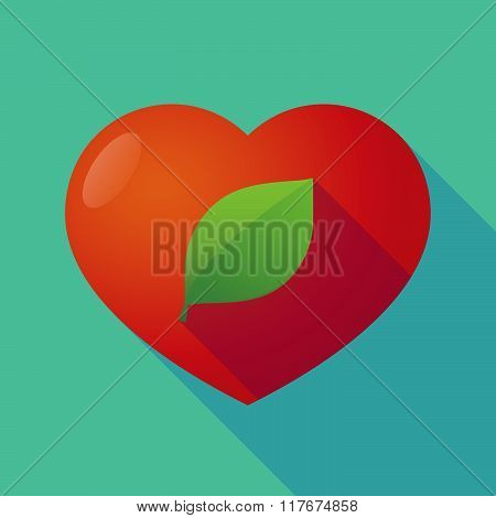Long Shadow Red Heart With  A Green  Leaf