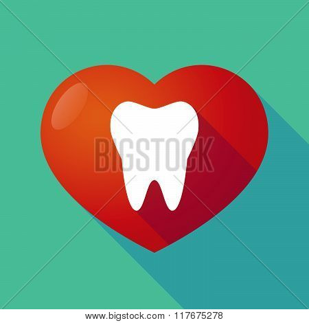 Long Shadow Red Heart With A Tooth