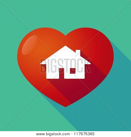 Long Shadow Red Heart With  A House