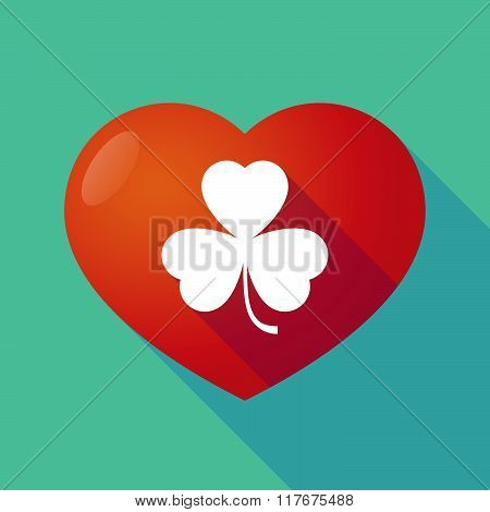 Long Shadow Red Heart With  A Clover