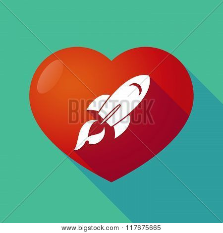 Long Shadow Red Heart With  A Rocket