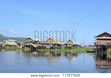 A house on bamboo stilts in Inle Lake, Burma.