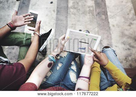 Students Break Analysis DIgital Tablet Mobile Phone Technology Concept