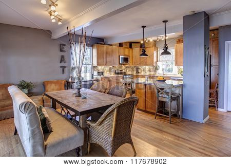 New home remodel with new kitchen and diningroom in eclectic style