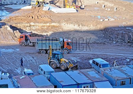 Birds Eye View Of Construction Work At Building Site.