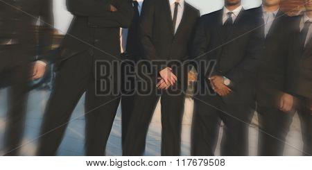 Corporate Businessman Teamwork Sunrise Confident Concept