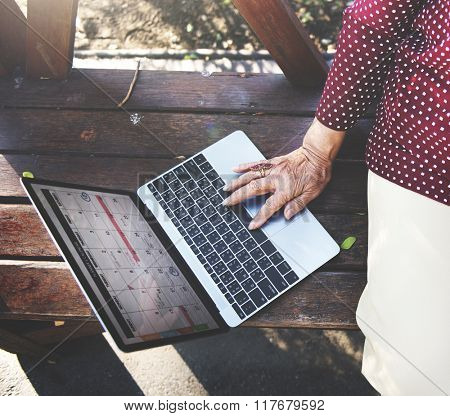 Social Media Senior Adult Browsing Online Concept