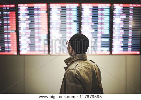 Schedule Airport Urban Man Looking Concept