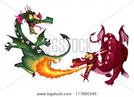 Funny dragons are playing with fire. Cartoon vector isolated characters.