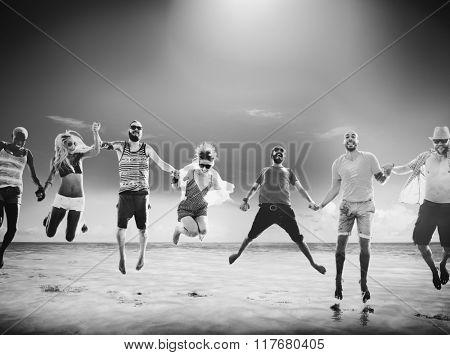 Diverse Beach Summer Friends Fun Jump Shot Concept