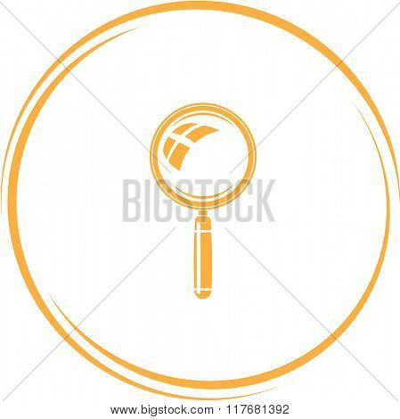 magnifying glass. Internet button. Raster icon.