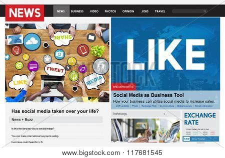 Like Share Social Media News Feed Concept