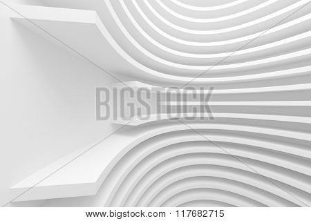 3d White Abstract Architecture Background. Modern Minimal Design