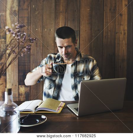 Man Relax Lifestyle Working Coffee Shop Concept