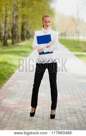 Beautiful Girl With Office Folder