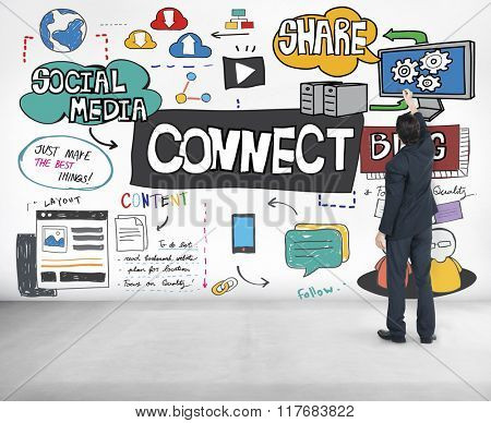 Connect Social Media Networking Communication Concept