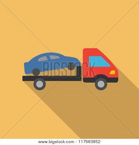 Car Evacuation Flat Long Shadow Square Icon