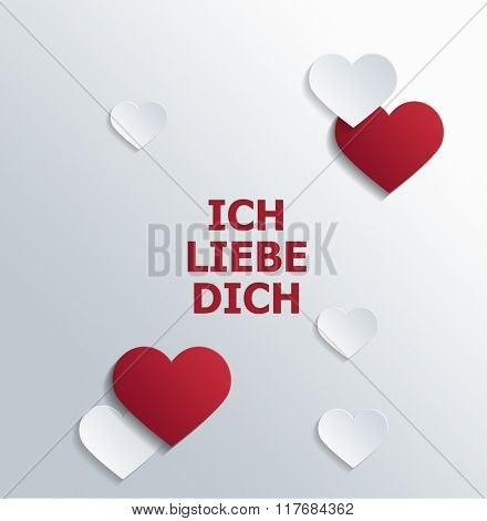 High Angle View of Message of Love in German Language Printed in Red Block Letters on White Background and Surrounded by Red and White Paper Cut Out Shapes with Copy Space. 3d Rendering