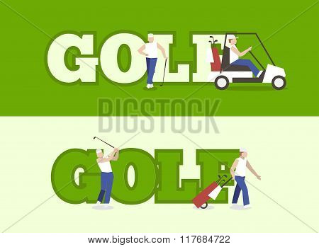 People Playing Golf With Text. Label Golf For Banner Golf Club.