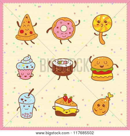 Kawaii collection of sweet and dessert doodle icon cute cake adorable candy sweet donat cartoon yummy style