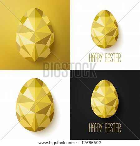Flat design polygon of golden egg isolated