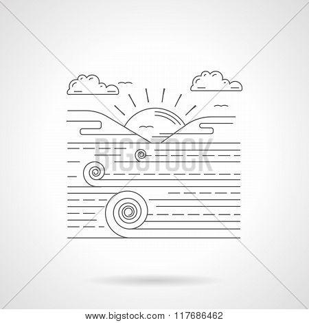 Agricultural landscape flat line vector icon