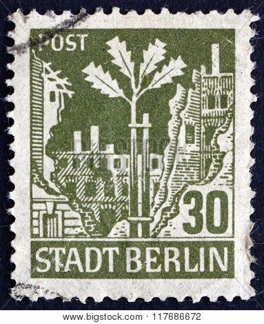 Postage Stamp Germany 1945 Oak Sapling, Ruins