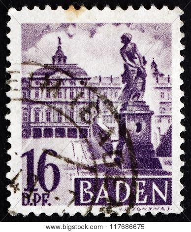 Postage Stamp Germany 1948 Rastatt Castle