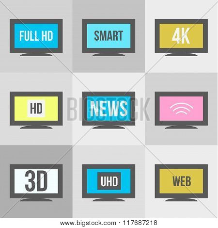Tv Icons Set. Screen And Television, Display And Video