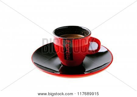 black coffee in red small ceramic cup