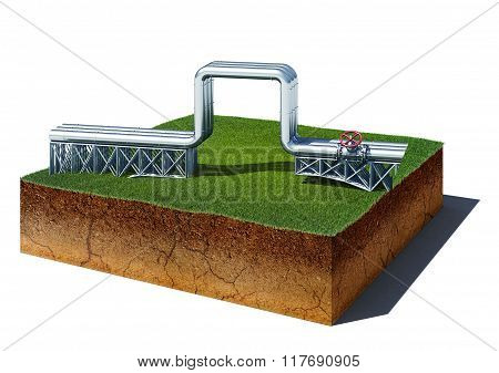 Dirt Cube With Gas Pipeline Isolated On White Background