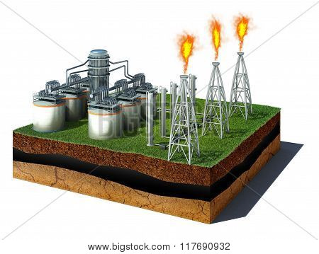 Dirt Cube With Oil Refinery Isolated On White Background