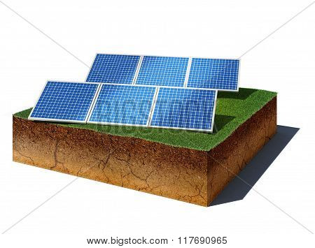 Dirt Cube With Photovoltaic Panels Isolated On White Background