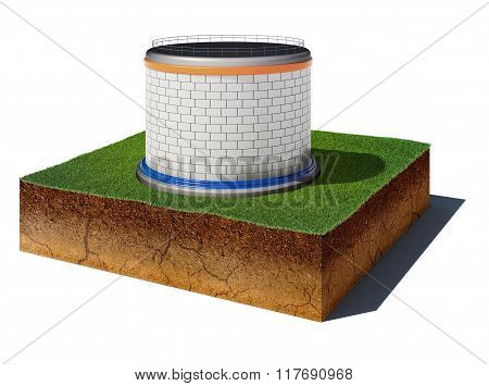 Dirt Cube With Oil Or Gas Storageoil Or Gas Storage Isolated On White Background