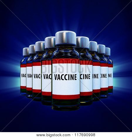 Vaccine Vials On Blue Background