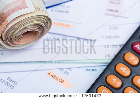 Invoices And Bills, Roll Of Cash, Calculator