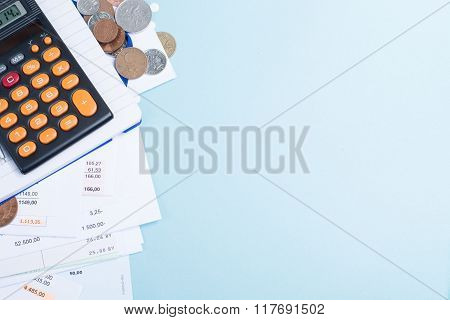 Mortgage And Utility Bills, Coins And Calculator, Copy Space