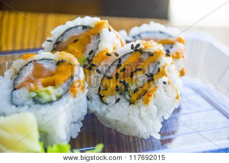 Sushi on Plastic Plate