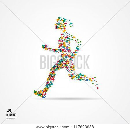 Running woman, sport colorful poster, icon with splashes, shapes